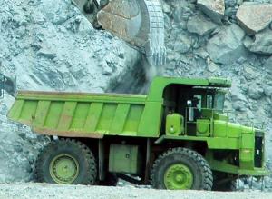 camión minero y pala